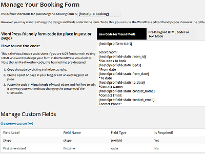 Customizable Booking Form