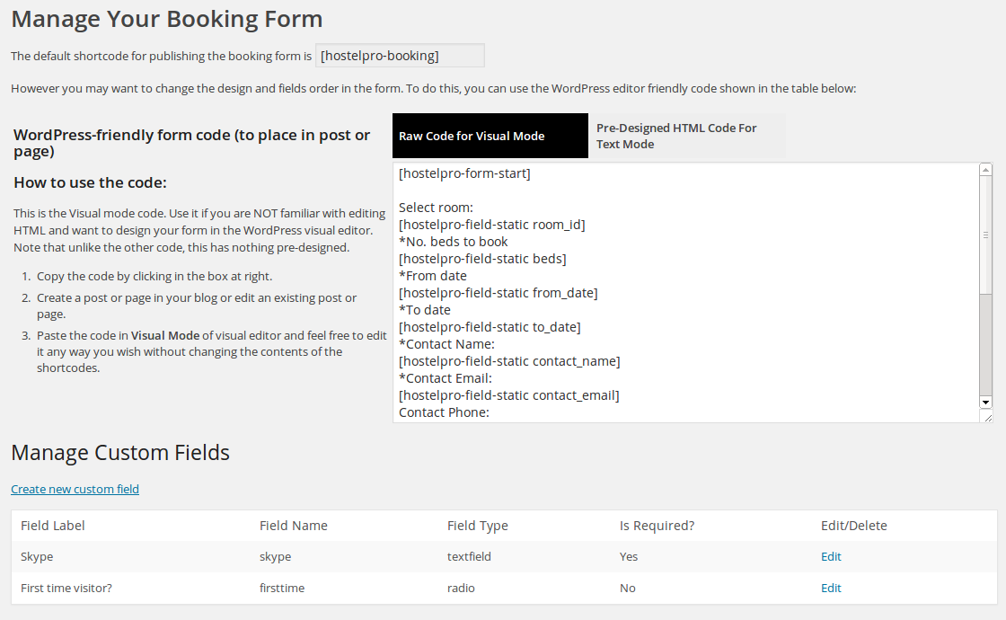 Manage Booking Form
